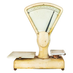 Vintage weathered weighing scale isolated on white
