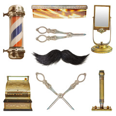 Vintage hairdresser and barber objects isolated on white