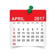 April 2017. Calendar vector illustration