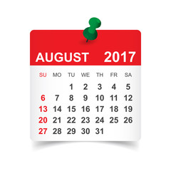 August 2017. Calendar vector illustration