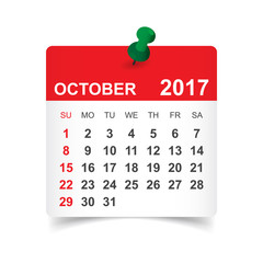 October 2017. Calendar vector illustration