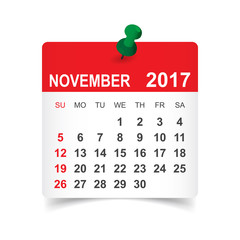 November 2017. Calendar vector illustration