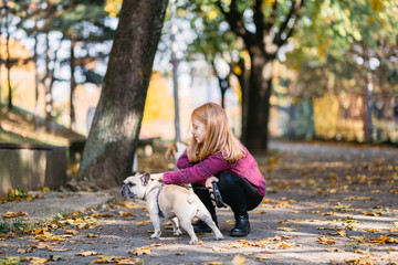 Beautiful redhead girl enjoying autumn day in a park with her French bulldog puppy.