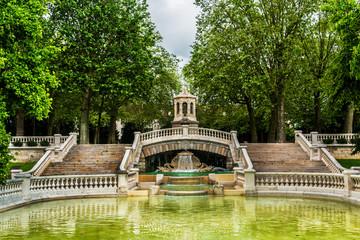 Darcy park (1880), fountain. Dijon city, France.