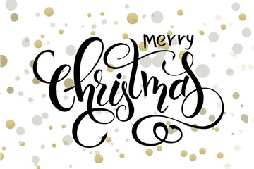 vector hand lettering christmas greetings text -merry christmas - with ellipses in gold color