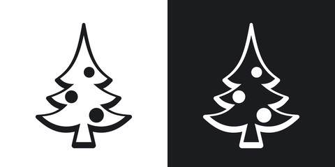 Vector christmas tree icon. Two-tone version on black and white background