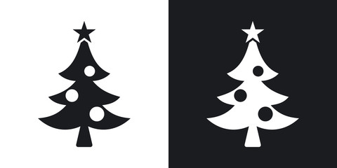 Vector christmas icon. Two-tone version on black and white background
