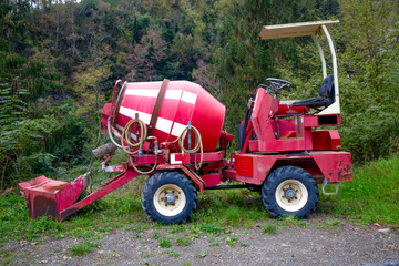 Red cement mixer car