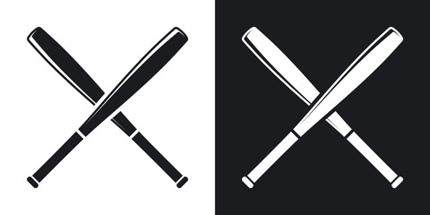 Vector crossed baseball bats icon. Two-tone version on black and white background