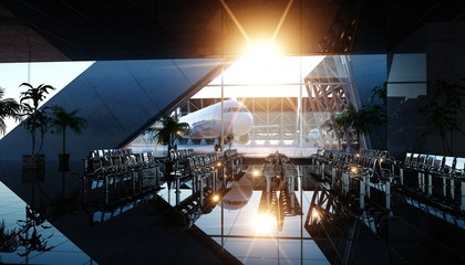 Airport terminal. Wonderfull sunset. Business and travel concept. 3d rendering.