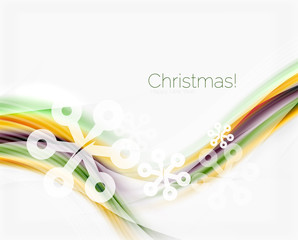 Wave line with snowflakes. Christmas abstract background