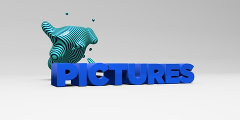 PICTURES -  color type on white studiobackground with design element - 3D rendered royalty free stock picture. This image can be used for an online website banner ad or a print postcard.