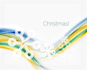 Blurred wave line with snowflakes. Christmas message presentation template