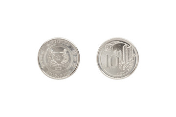 Front and back of Singapore coin 10 cent.
