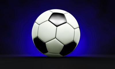Fußball oder Fussball mit blauem Leuchten dahinter