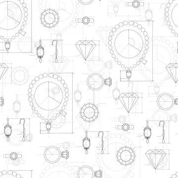 Jewelry Production Sketch Seamless Pattern.