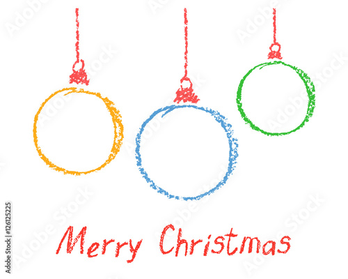 Colorful Christmas Background For Kids.Colored Round Christmas Ball Design Elements Set Of Funny