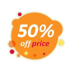 Sale Round Banner. 50 Percent Off Price Discount