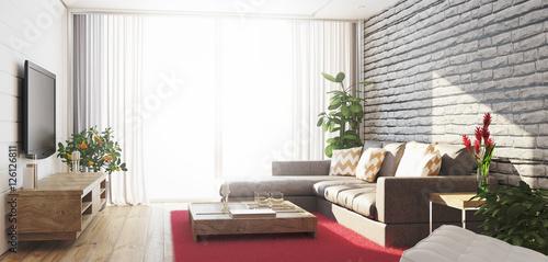 soggiorno luminoso nuovo con divano grigio e parquet render 3d ... - Soggiorno Luminoso