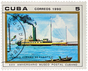 "Old paddle steamer ""Almendares"" on postage stamp"