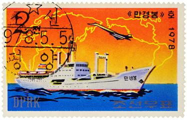 "North Korean cargo ship ""Mangyongbong"" on postage stamp"