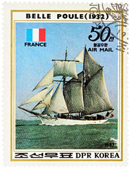 "French sail training ship ""Belle Poule"" (1932) on postage stamp"
