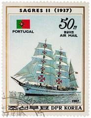"Portuguese sail training ship ""Sagres II"" (1937) on postage stam"