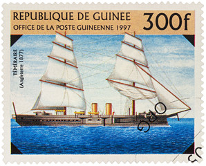 """Old ship """"Temeraire"""" (1877) on postage stamp"""