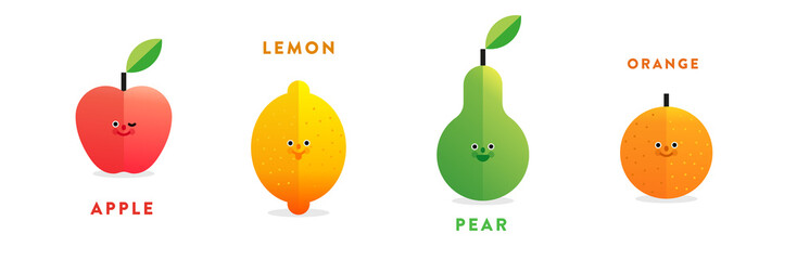 Set of colorful isolated flat vector fruit: apple, lemon, pear and orange with gradient