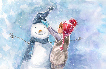 Winter watercolor illustration