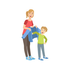Mother And Child Preparing For Walk Together Illustration