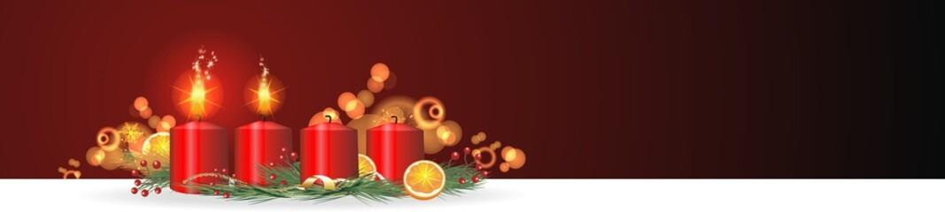 weihnachtlicher Hintergrund mit Adventskerzen