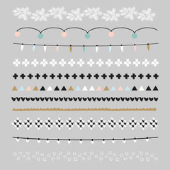 Set of Christmas borders and brushes. Party decorations with Christmas lights, knitted patterns. Isolated vector objects.