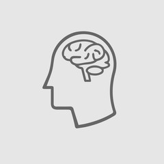Head with brain icon on grey background. Head with brain symbol. Vector illustration EPS 10.