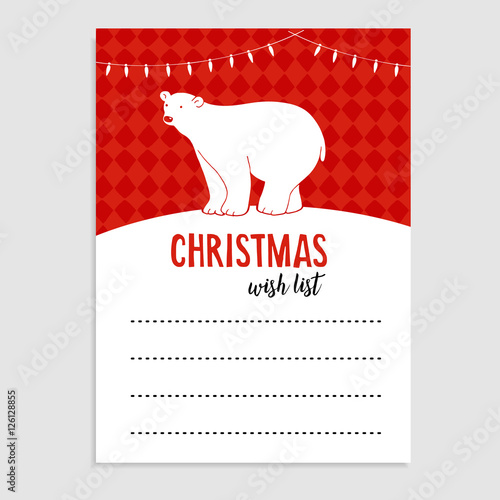 Cute Christmas Greeting Card Wish List Polar Bear With Lights And Snow