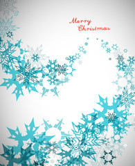 Christmas background with turquoise snowflakes and red Merry Chr