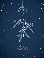 Handwritten Christmas illustration with hanging mistletoe. Night