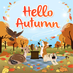 Hello Autumn season greeting square version
