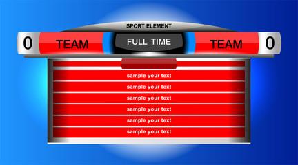 scoreboard chart sport design for football soccer, vector illustration