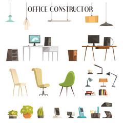 Modern Office Accessories Cartoon Set