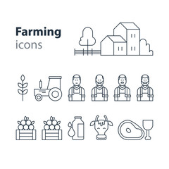 Farming products icons set, farm house, fruit vegetables, cow milk, meat