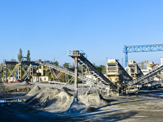 Conveyor and mining equipment in a granite quarry