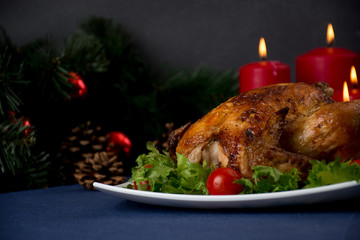 Roasted chicken for christmas table