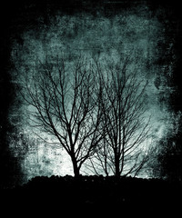 Beautiful blue grunge landscape, scary trees, halloween wallpaper
