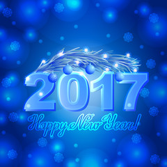 Vector christmas greeting card with lettering congratulation blue background. Snowflakes and 2017 branch of pine text happy new year