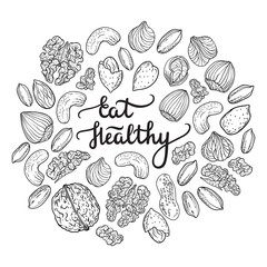 Illustration of nuts mix and lettering Eat Healthy