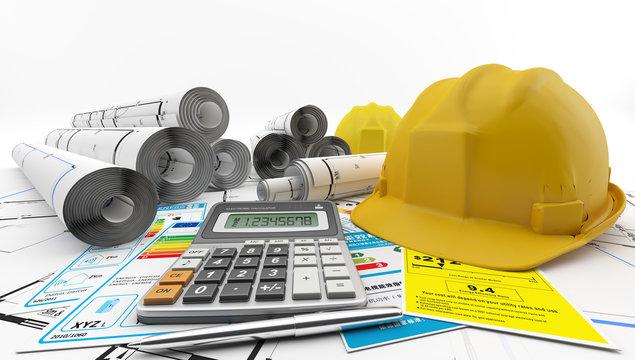 Planos enrollados para la construcción de una casa junto a un casco de protección, una calculadora y etiquetas de eficiencia energética.