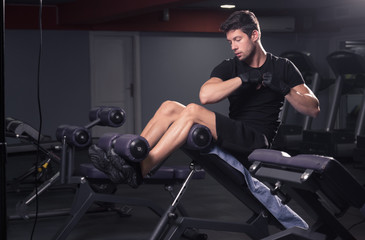 man side abs core exercise bench gym