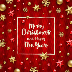 Christmas greeting - calligraphy type design and Christmas decoration on a knitting red background