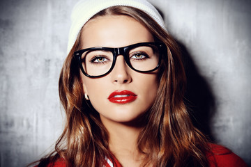 modern girl in glasses